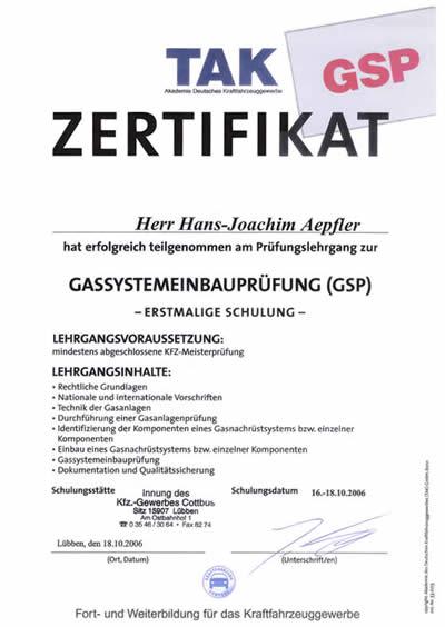 Gassystemeinbauprüfung, GSP